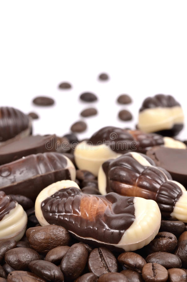 Chocolate candy with coffee beans royalty free stock photos