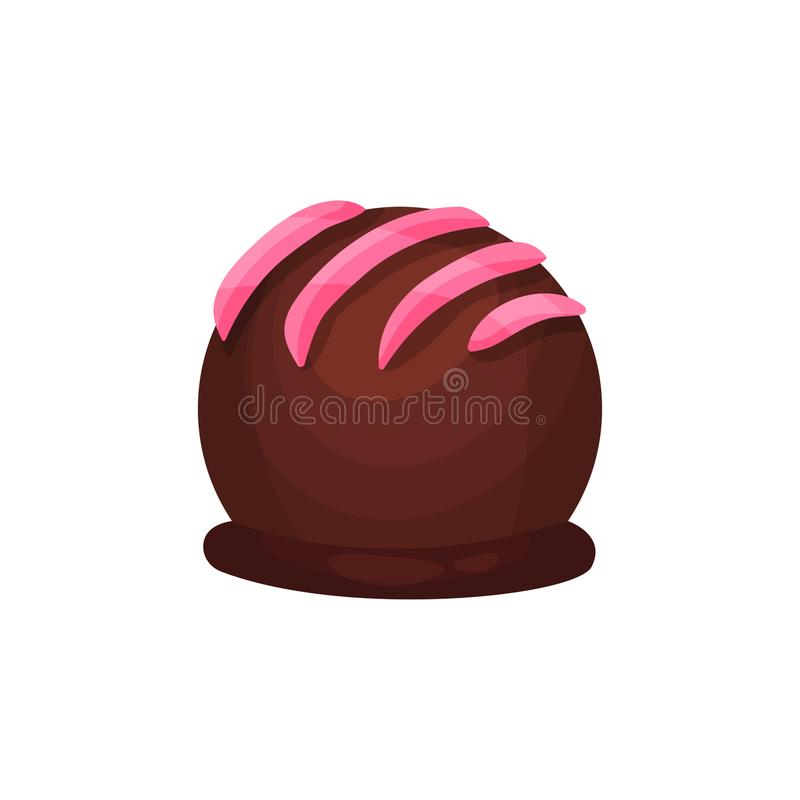 Chocolate candy in form of ball with pink icing. Delicious truffle. Sweet dessert for tea or coffee break. Tasty vector illustration