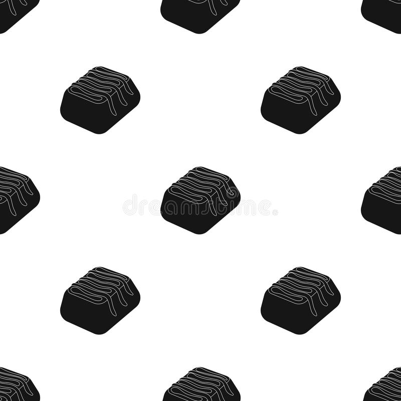 Chocolate candy icon in black style isolated on white background. Chocolate desserts symbol stock vector illustration. Chocolate candy icon in black design stock illustration
