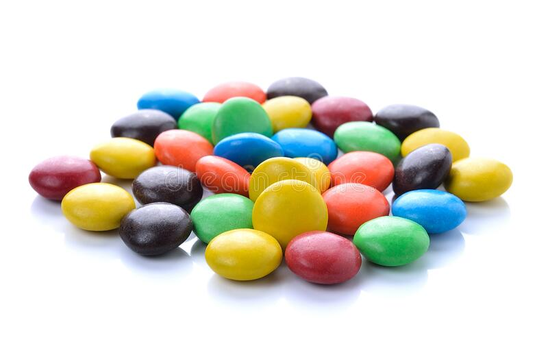 Chocolate candy on white. Background royalty free stock photography