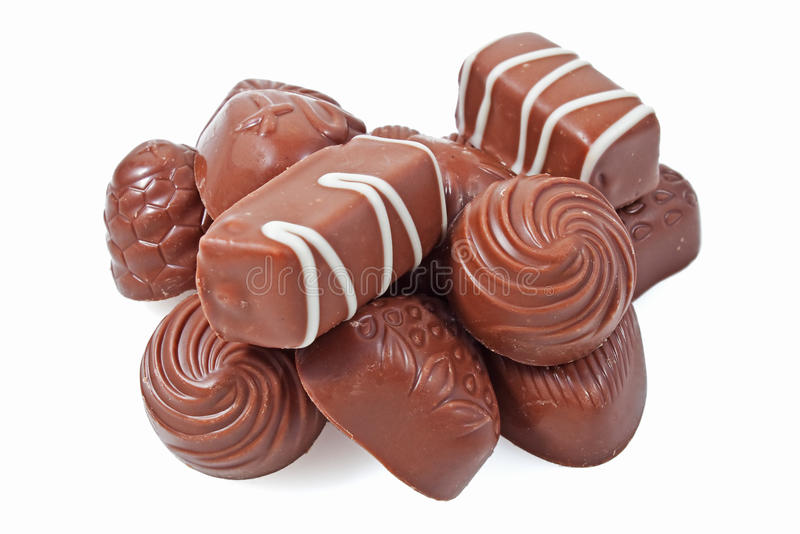 Chocolate candy on a white background stock photography