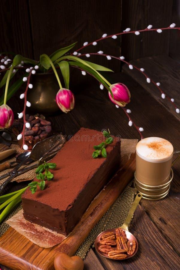 Chocolate cappuccino cake. A tasty chocolate cappuccino cake stock image