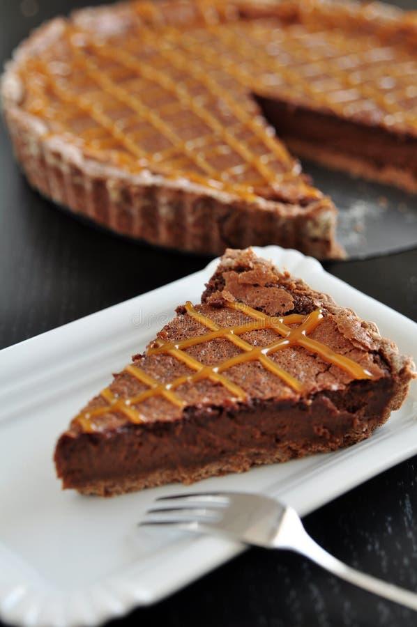 Chocolate Caramel Tarte royalty free stock images