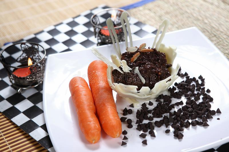 Chocolate carrot halwa, Chocolate carrot dessert stock photography