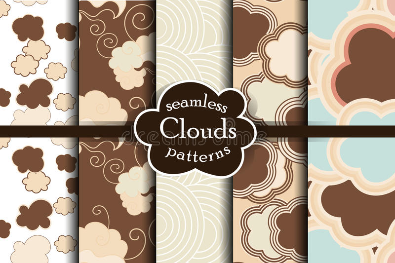 Chocolate cartoon sky and clouds seamless pattern set. vector illustration