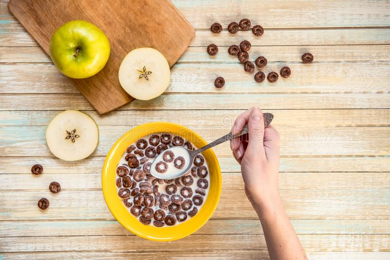 Chocolate cereal flakes rings with milk top view.  royalty free stock photos