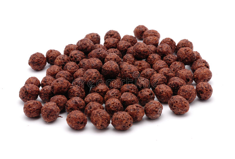 Chocolate cereals. Isolated on a white background stock images