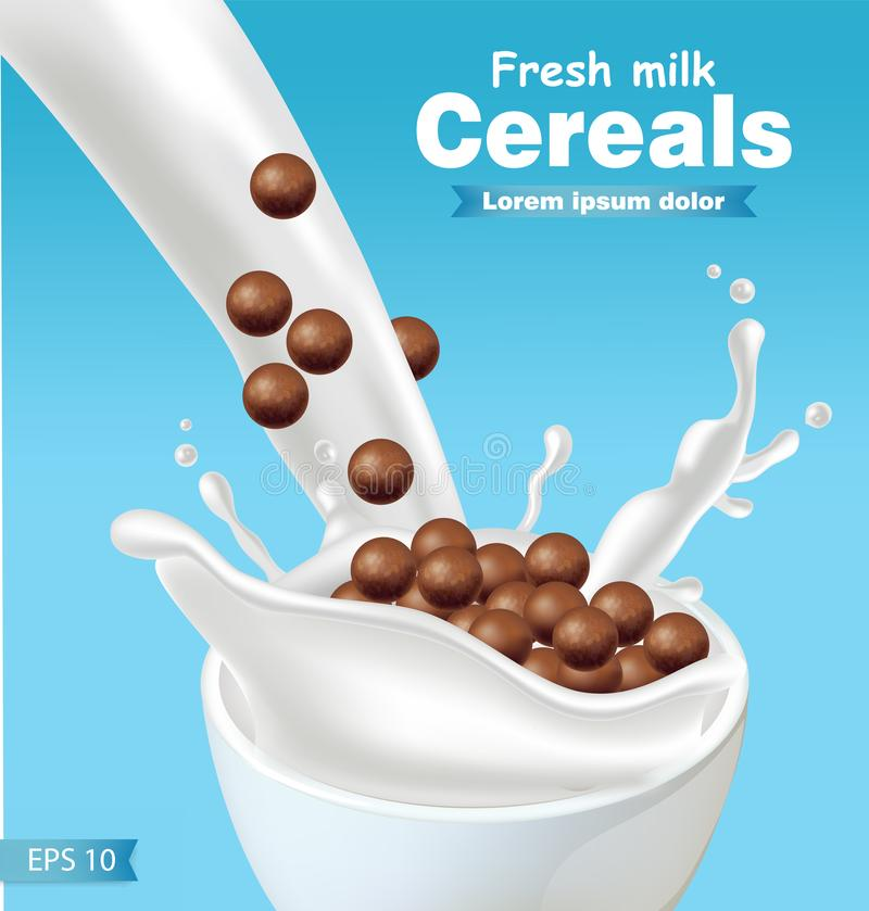 Chocolate cereals in milk splash Vector realistic. Blue background 3d detailed effect illustrations. Chocolate cereals in milk splash Vector realistic. blue vector illustration