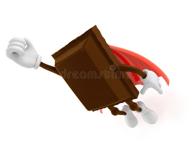 Chocolate character with hero cape. Isolated on white background. 3d illustration royalty free illustration