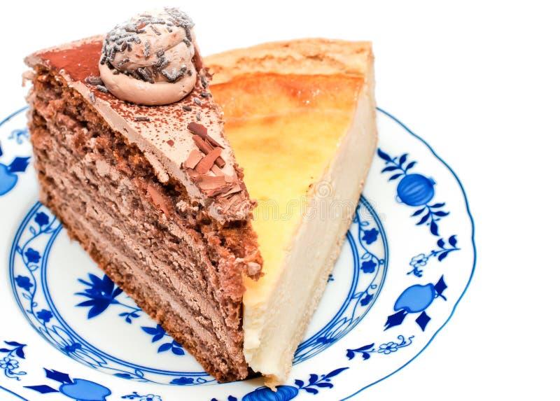 Chocolate and cheesecake stock photos