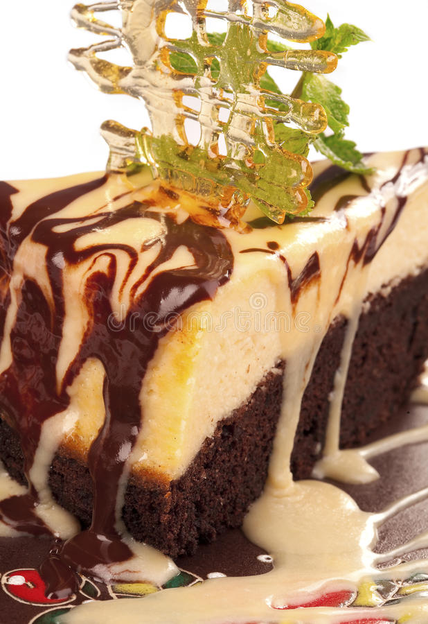 Chocolate Cheesecake With Caramel  Crust Stock Images