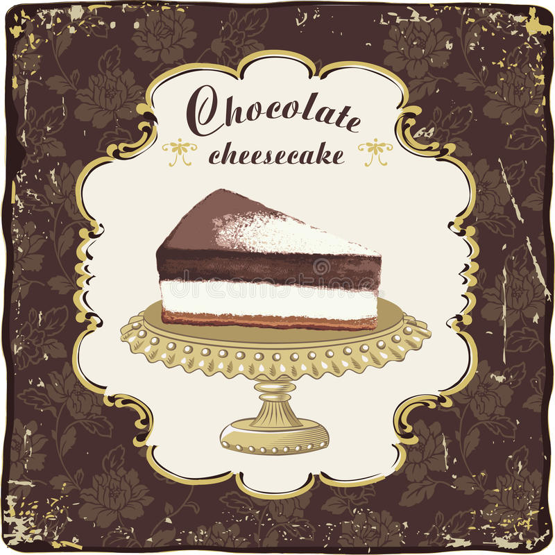 Chocolate cheesecake. Vector chocolate cheesecake in a vintage frame stock illustration