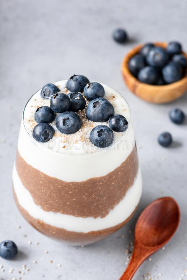 Chocolate chia pudding parfrait or layered chia pudding dessert royalty free stock image