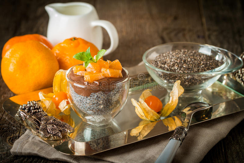 Chocolate chia seed pudding in glass bow royalty free stock photography