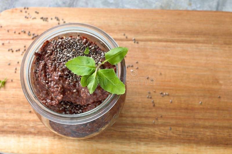 Chocolate chia seeds pudding. stock photography