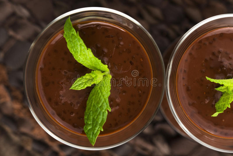 Chocolate chia seeds pudding royalty free stock image