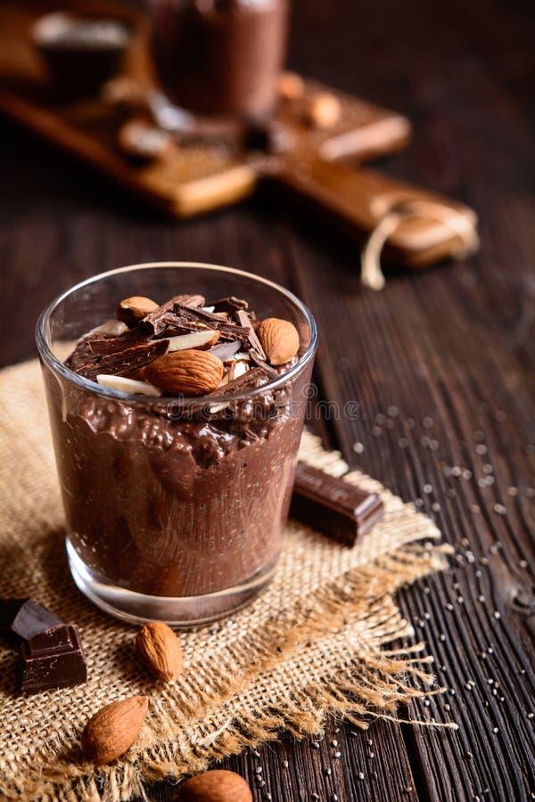 Chocolate chia seeds pudding royalty free stock photo