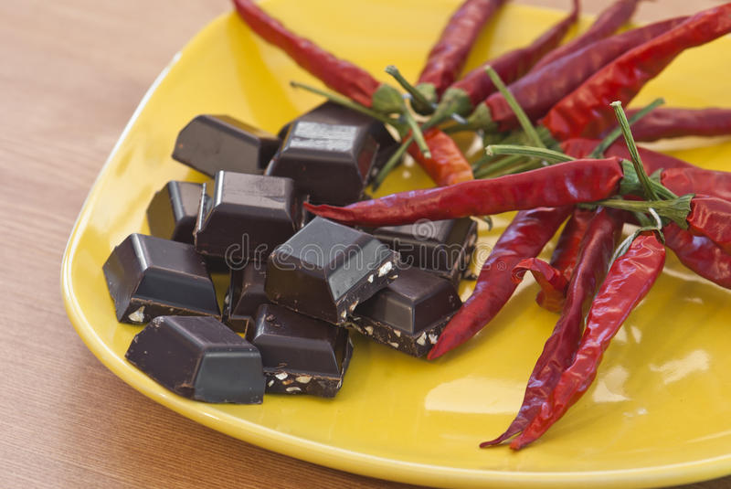 Chocolate And chilies royalty free stock photo
