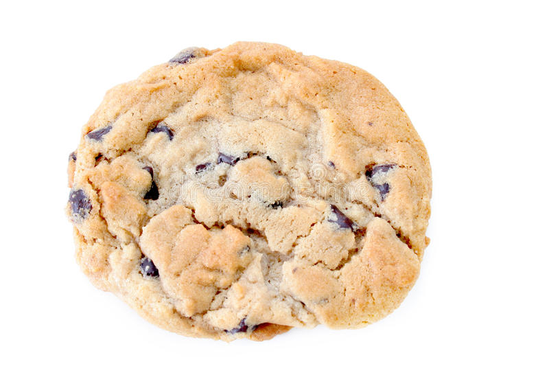 Chocolate Chip Cookie. Close up of a chocolate chip cookie on a white background stock images