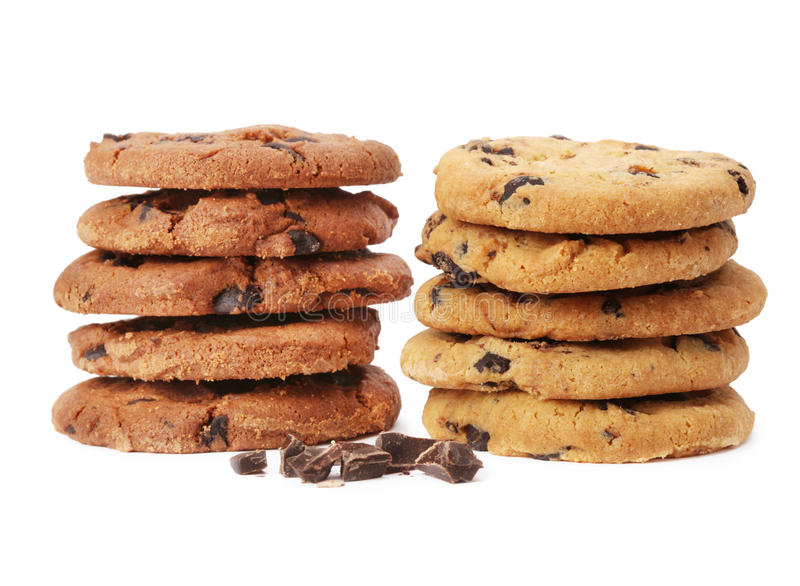 Chocolate chip cookie. On white royalty free stock photo