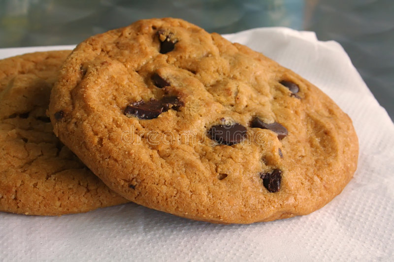 Chocolate Chip Cookie. Freshly Baked and on a Napkin royalty free stock photography