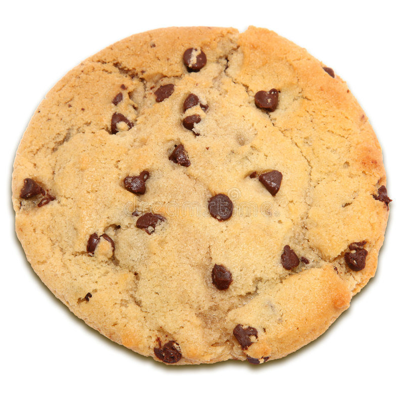Chocolate Chip Cookie. Over white stock images