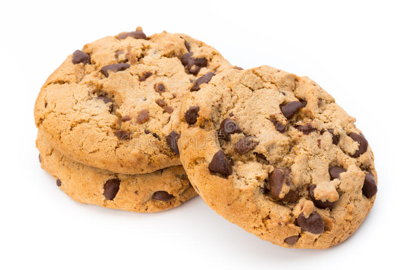 Chocolate chip cookie. Chocolate chip cookie on white background stock image