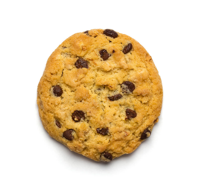 Chocolate chip cookie. Close up of chocolate chip cookie isolated on white background stock photos