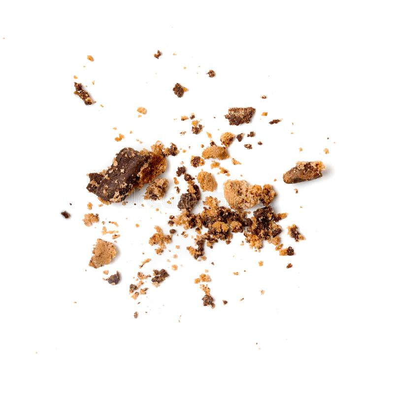 Chocolate chip cookie with crumbs isolated on white background. Close up.  royalty free stock images