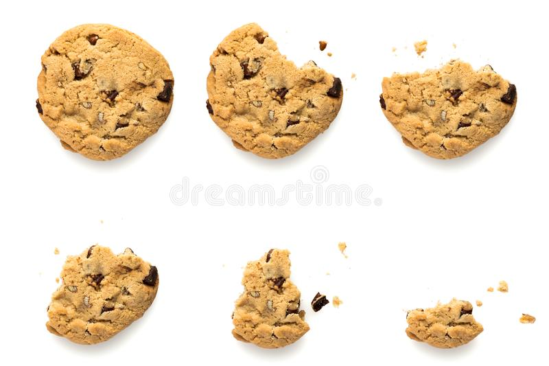 Chocolate chip cookie evolution. Six steps of chocolate chip cookie with pecan nuts being eaten. Sequence isolated on white background royalty free stock photos