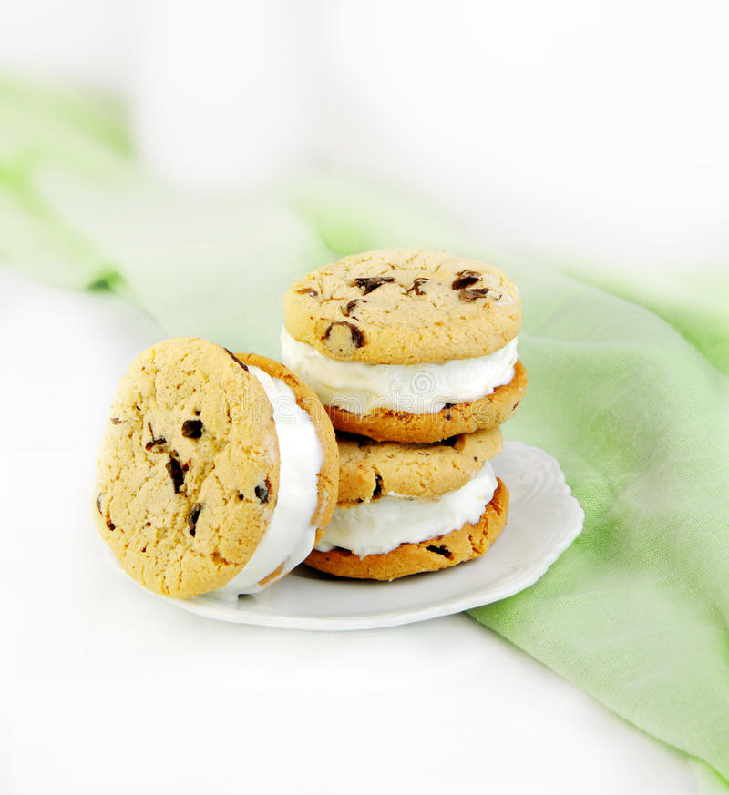 Chocolate Chip Cookie and Ice Cream Sandwiches royalty free stock images