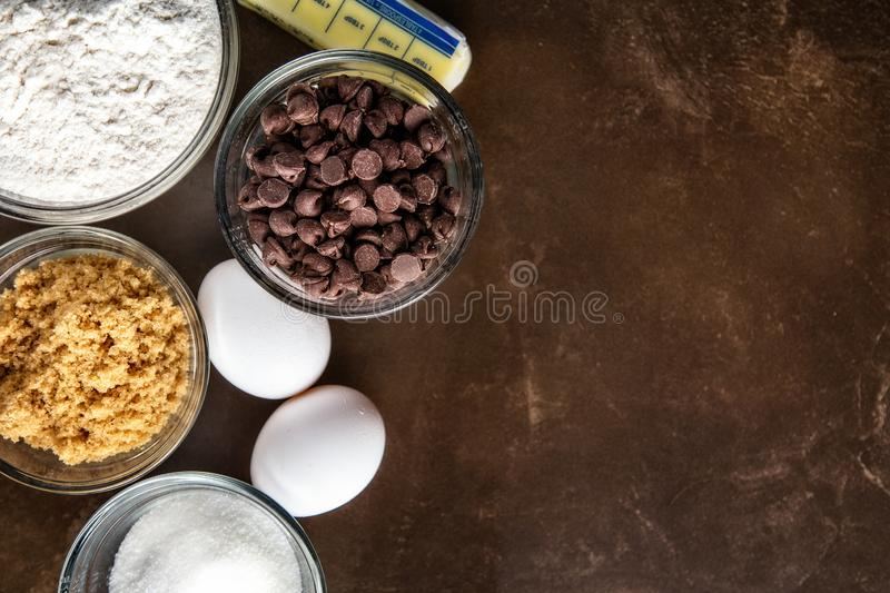 Chocolate Chip Cookie Ingredients royalty free stock image