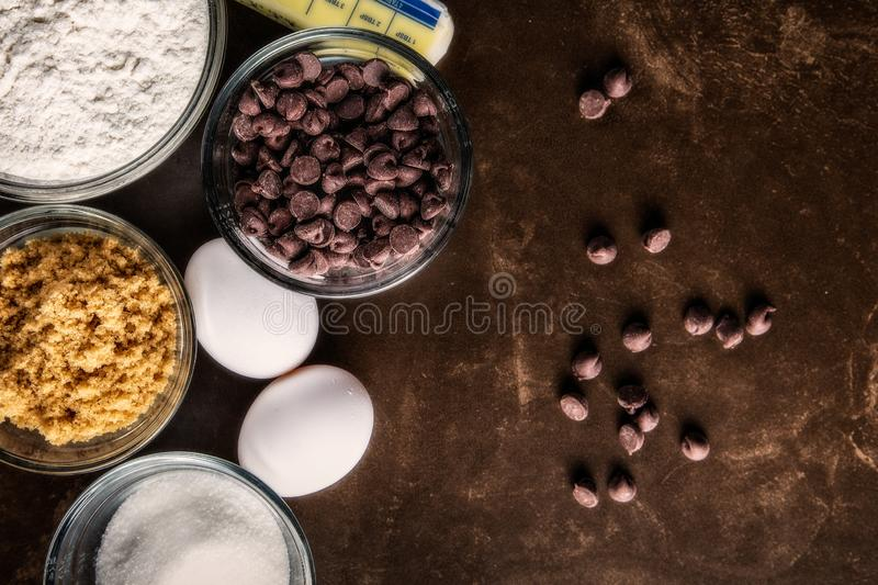 Chocolate Chip Cookie Ingredients royalty free stock photography