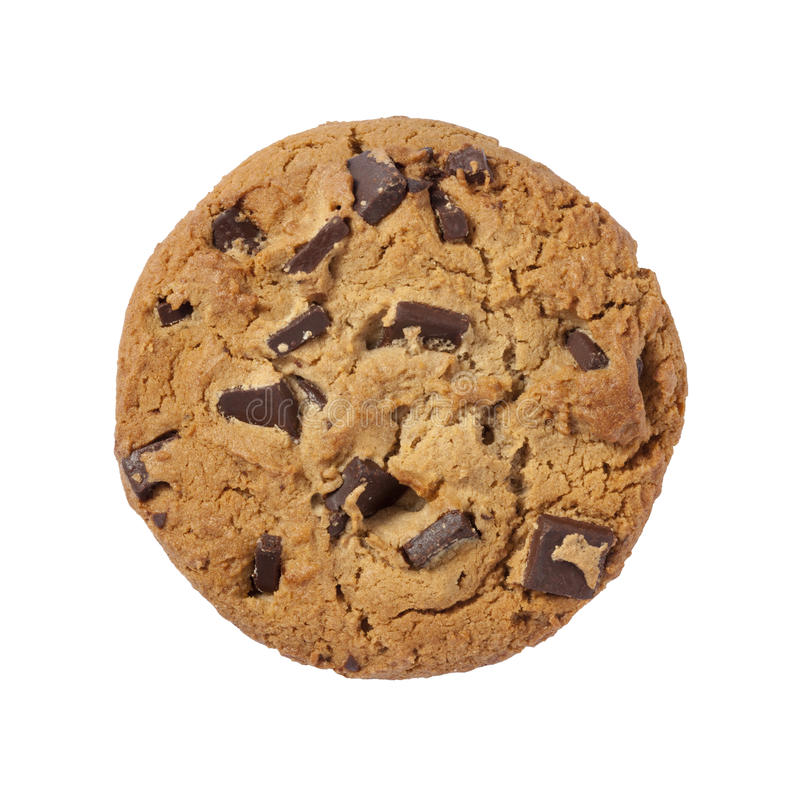 Chocolate Chip Cookie isolated with clipping path. Chocolate Chip Cookie isolated on white with a clipping path. Isolation is on a transparent layer in the PNG royalty free stock photo