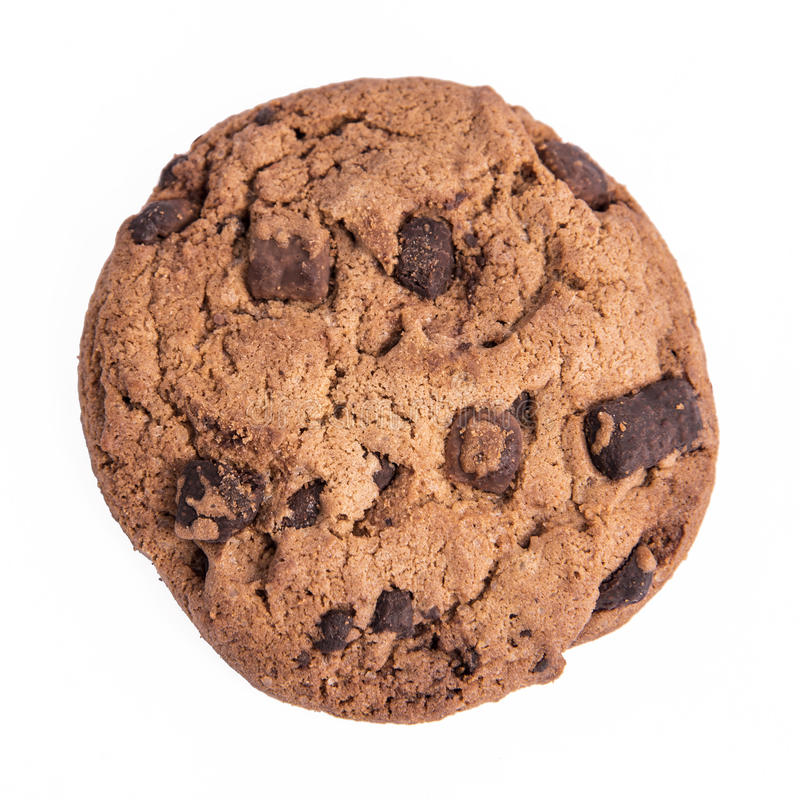 Chocolate chip cookie. Isolated on white royalty free stock photography