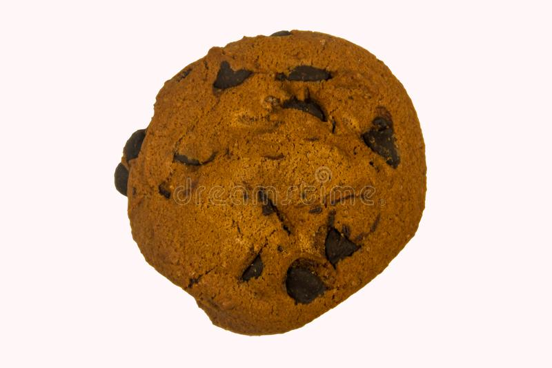 Chocolate chip cookie isolated on white background royalty free stock image