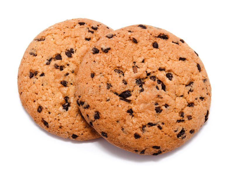 Chocolate chip cookie isolated. On a white background royalty free stock photos