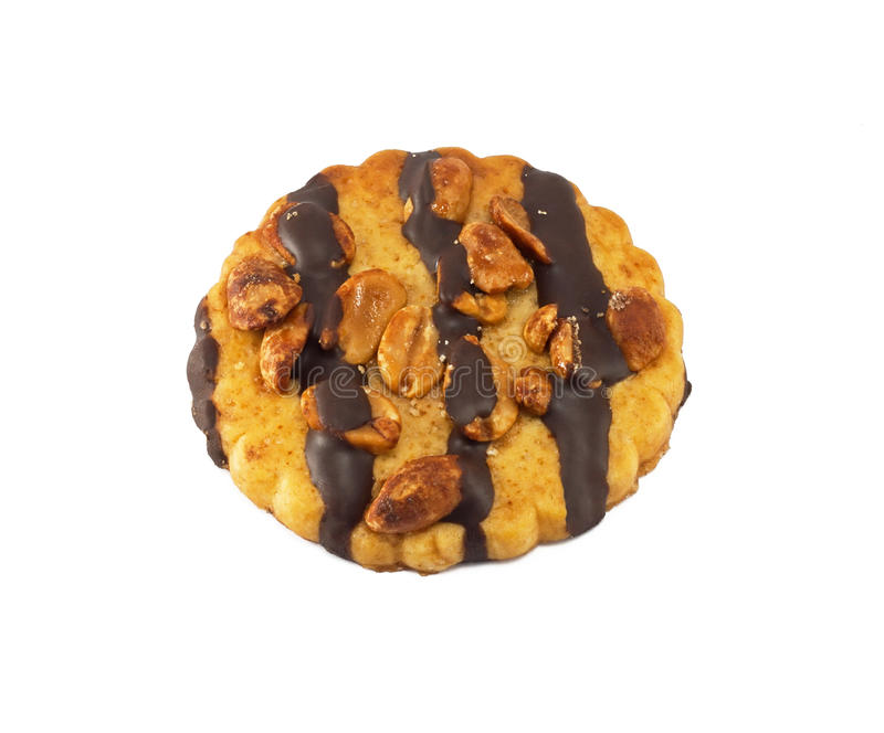 Chocolate chip cookie with peanuts royalty free stock photo