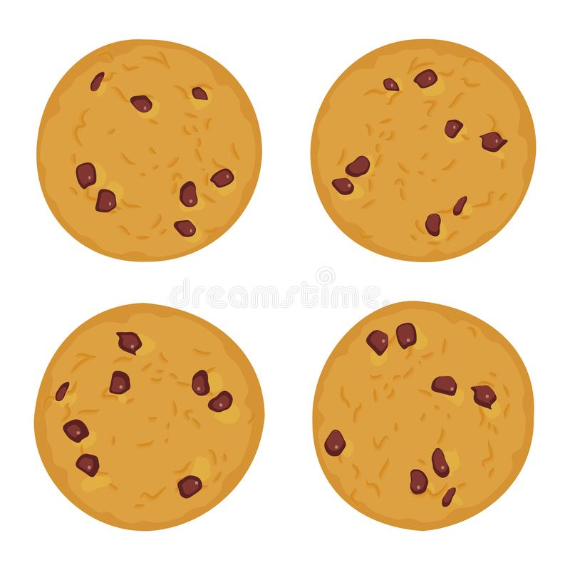 Chocolate chip cookie set, Freshly baked Four cookies isolated on white background. Bright colors. Vector. Illustration stock illustration