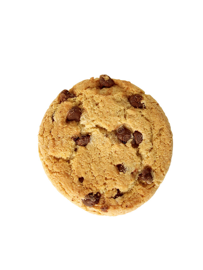 Chocolate Chip Cookie-from top (path included) royalty free stock photography