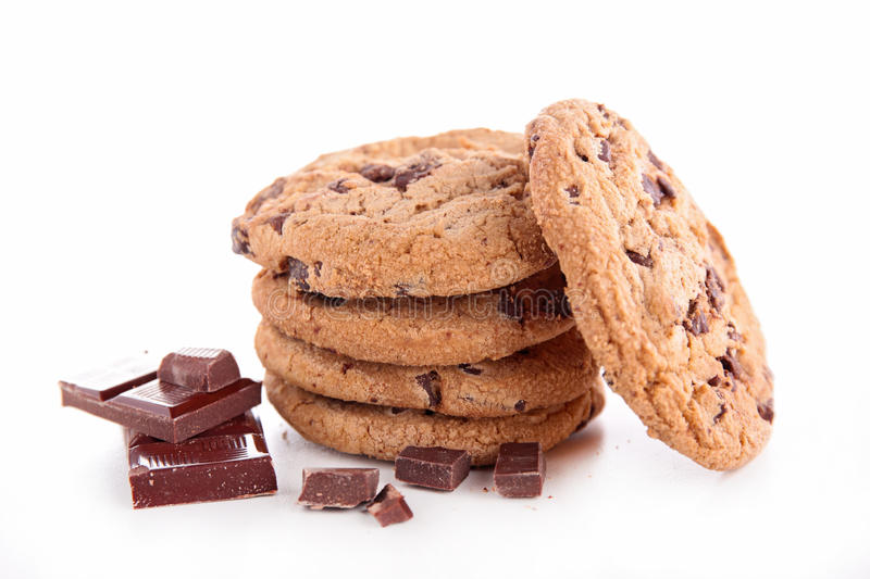 Chocolate chip cookie. On white royalty free stock images