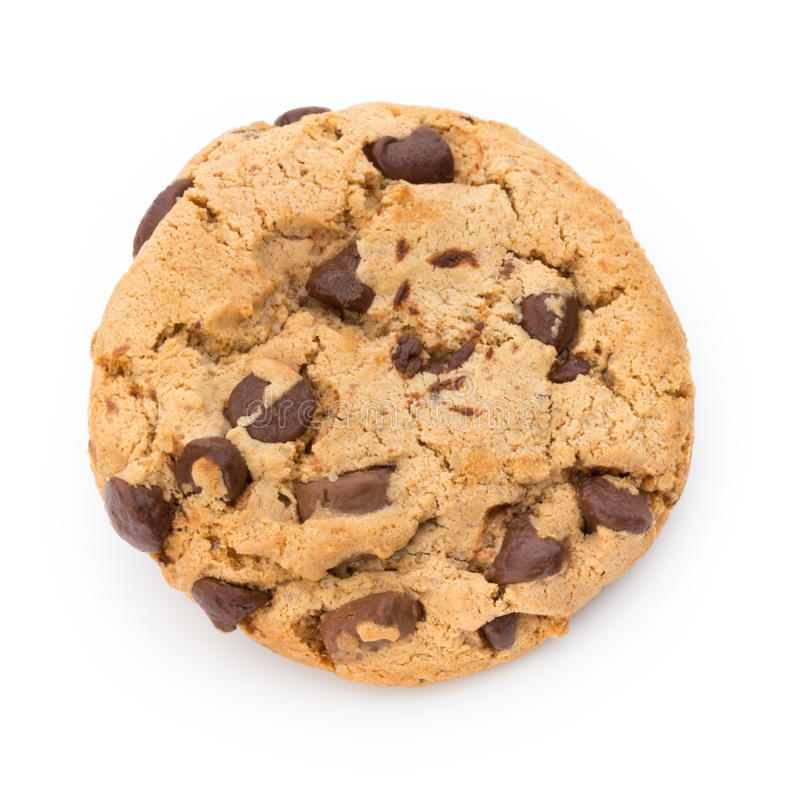 Chocolate chip cookie. Chocolate chip cookie on white background royalty free stock image