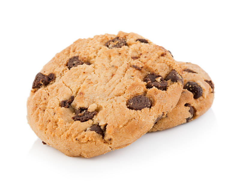 Chocolate chip cookie on white background. Closeup Chocolate chip cookie on white background stock photos