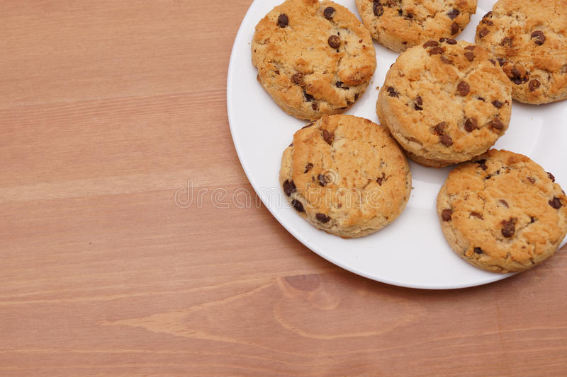 Download Chocolate chip cookies stock image. Image of round, plate - 28750875