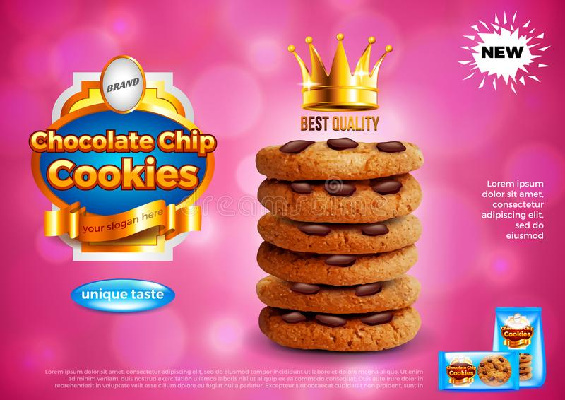 Chocolate chip cookies ads vector background vector illustration