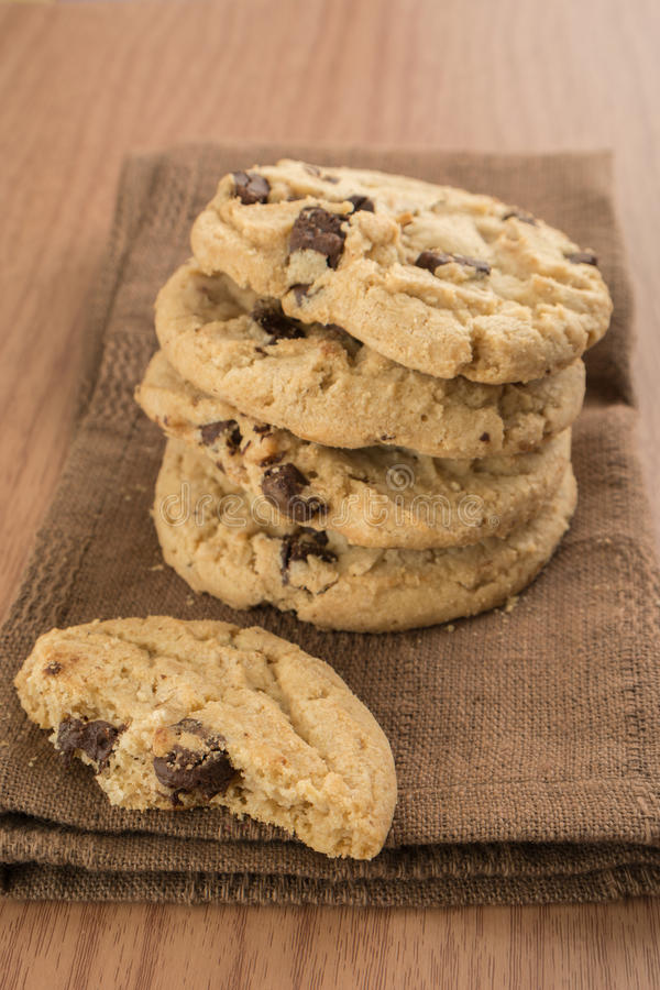 Download Chocolate Chip Cookies On Brown Kitchen Towel Stock Image - Image of calorie, crisp: 35829079