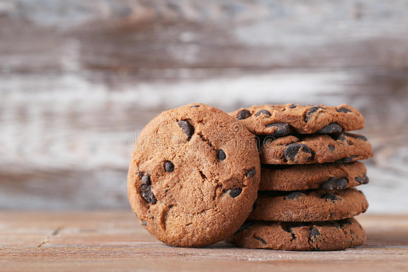 Chocolate chip cookies. On brown wooden table stock photography