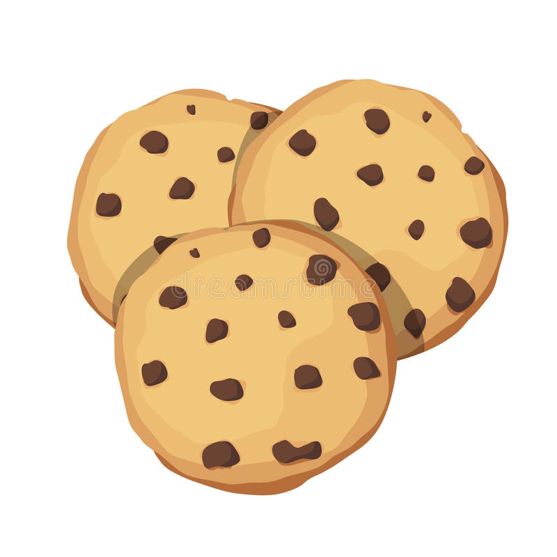 Free Chocolate Chip Cookies. Choco Cookie Icon. Vector Illustration Royalty Free Stock Image - 89577036
