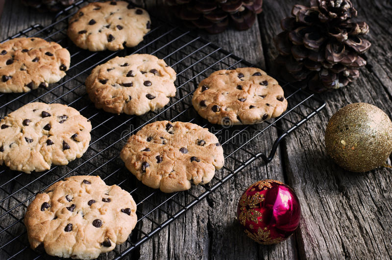Chocolate Chip Cookies at Christmas Time. Horizontal royalty free stock photography