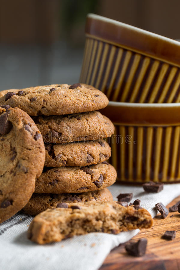 Chocolate chip cookies. Close-up royalty free stock photography
